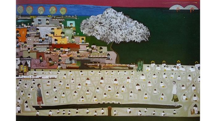 Lukisan karya Uuk Paramahita(Kredit Foto : Raka Santeri)